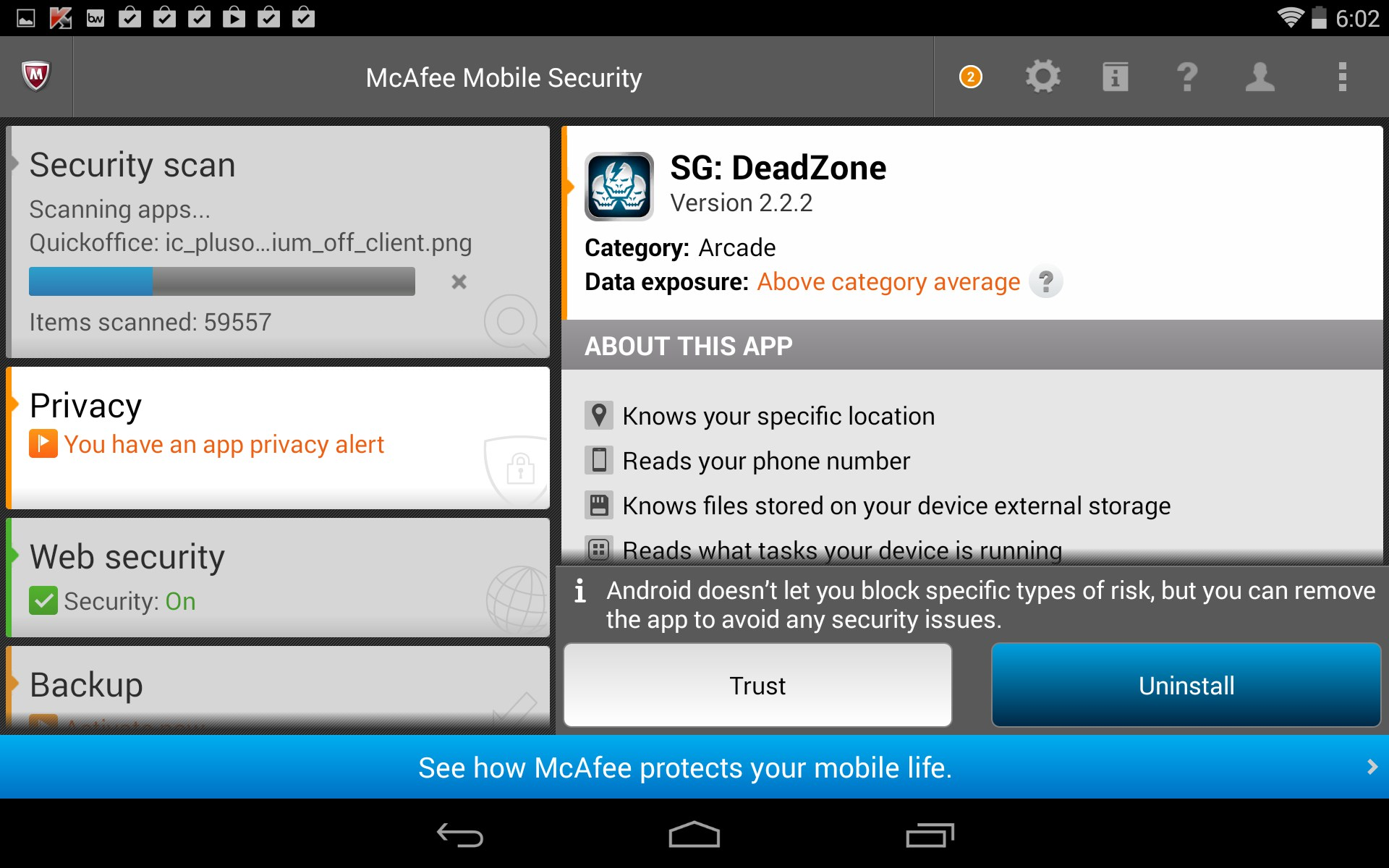 McAfee® Mobile Security per Android   McAfee
